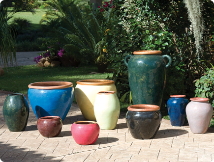 Assorted Clay Pots Covered In Resin